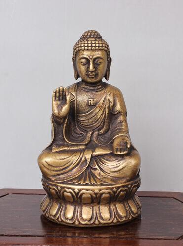 Tibetan Buddhism Bronze Copper Gild Sakyamuni Shakyamuni Amitabha Buddha Statue