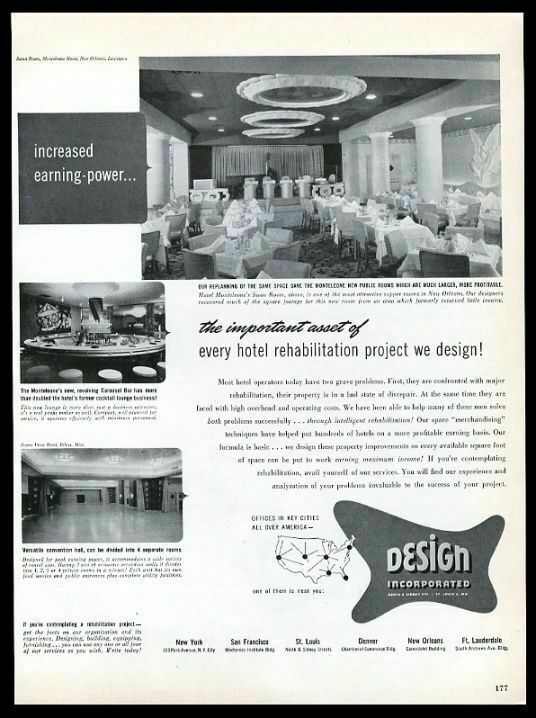 1950 New Orleans Hotel Monteleone Swan Room photo Design Incorporated print ad