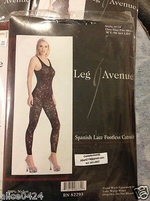 Leg Avenue Sexy Black Bodystocking Spanish Lace Footless Catsuit # 8774 one size - Lace Footless Bodystocking