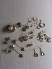 Sterling silver earrings and a few rings