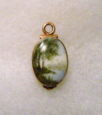 Vintage Rose Gold Hand Painted Porcelain Lake Trees Braided Hair Mourning Locket