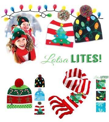 Flashing Christmas Hats (Lotsa Lites LED Flashing Christmas Hat And Matching Scarf Light Up)