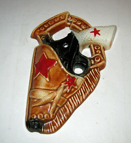 Vintage Western Cowboy Ceramic SIX SHOOTER Decorative Wall Hanging