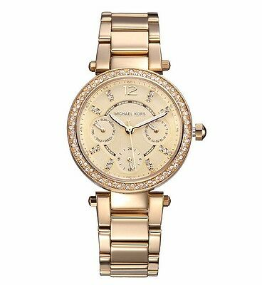 Michael Kors MK6056 Mini Parker Champagne Glitz Crystal Dial Steel Wrist Watch