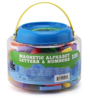 EduKid Toys MAGNETIC LETTERS & NUMBERS 109 Educational Magnets in Bucket ~NEW~