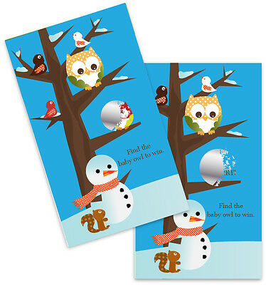 Owl - Winter Theme or Christmas - Baby Shower Scratch Off Game Pack - Winter Themed Baby Shower