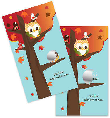 Owl - Fall Theme - Baby Shower Scratch Off Game Pack ()