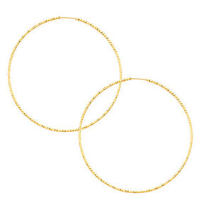 14K Yellow Gold 1mm Thickness Diamond-cut Endless Hoop Earrings