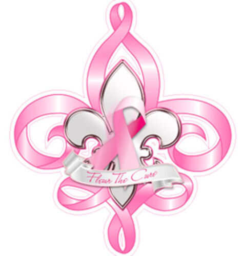Fleur de cure breast cancer awareness vinyl decal