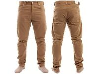 Men's ENZO 989 EZ89 Tan Coloured Regular Fit Designer Chinos Trouser Pant W32R