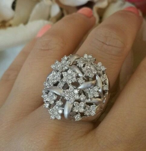 Flower Diamond Cluster Ring with Wide shank TW 2.00 ct 18k White Gold  - HM1572