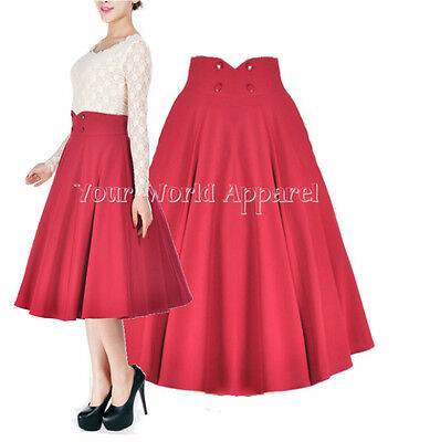 1950 Skirts (ROCKABILLY RED FULL CIRCLE SWING SKIRT 1950's Evening PIN UP RETRO Club Party)