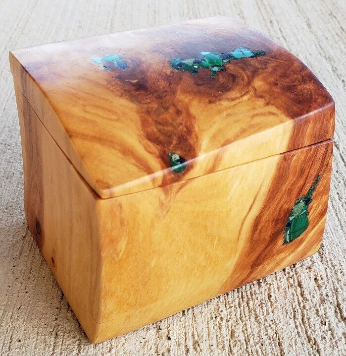 Carved Wood Burl Trinket Box Inlaid Gold Turquoise Malachite Azurite OOAK Jewel