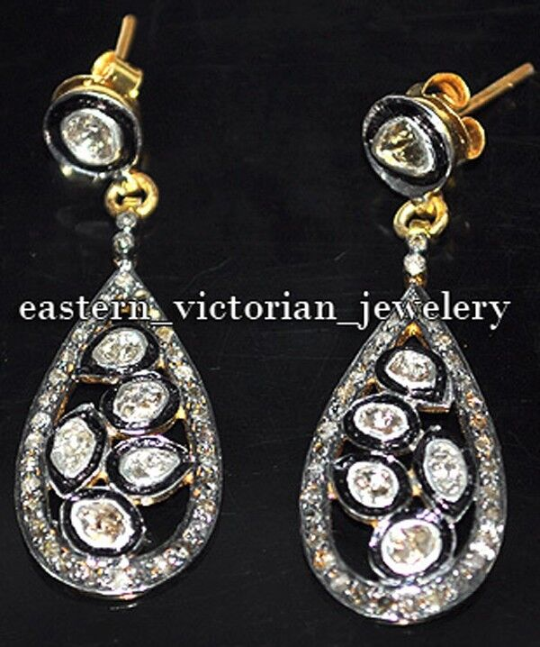 2.09Cts Genuine Old Mine Rose Antique Cut Diamond Silver Vintage Earring Jewelry