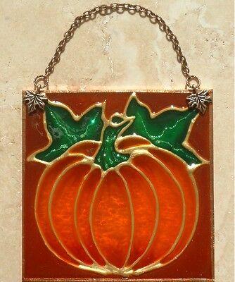 Harvest Fall Autumn Thanksgiving Stain Glass Pumpkin Suncatcher Halloween Decor