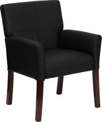 Flash Furniture Black Leather Executive Side Chair Or Reception Chair Wlegs New