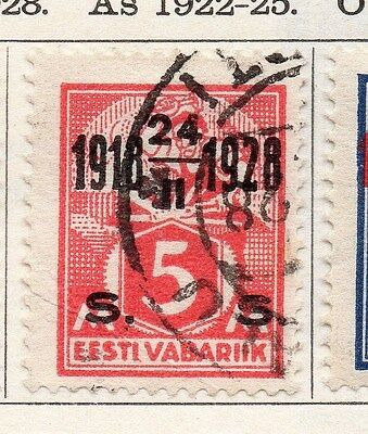 Estonia 1928 Early Issue Fine Used 5s. Optd 087891