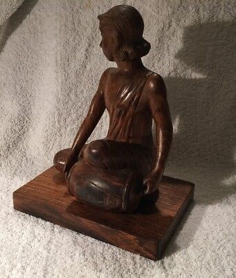 VINTAGE CARVED WOODEN ETHNIC FIGURE OF INDONESIAN FEMALE  PLAYING DRUM