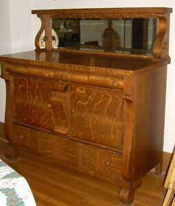 Antique Empire Tiger Oak Dining Room Server Buffet Sideboard With Mirror EBay