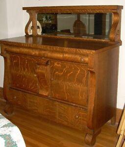 Antique Empire Tiger Oak Dining Room Server Buffet