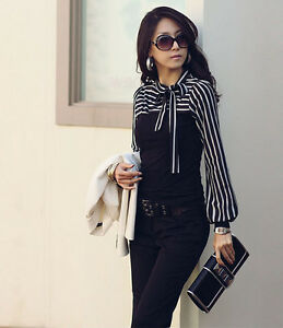 New S M L XL T-shirt Long Sleeve Bowknot Striped Tops Blouse Shirt Black White Z