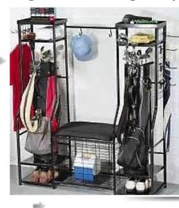 Black Metal Golf Organizer Rack