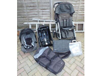 Graco Complete Travel System with Pram, Pushchair, Car Seat (iso fix base), Carry Cot