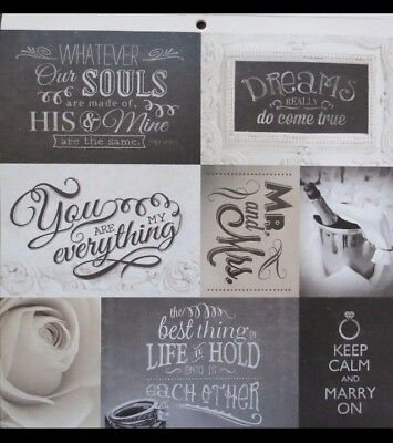 New Scrapbook Paper Double Sided 12 x 12 Wedding Bride Marriage I Do - Double Sided 12x12 Scrapbook Paper
