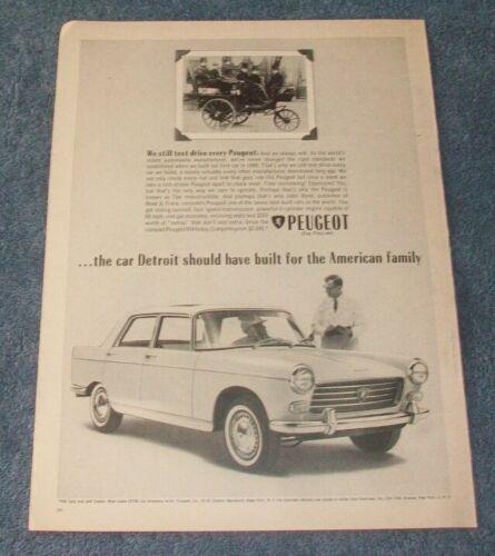 "1963 Peugeot 404 Vintage Ad ""We Still Test Drive Every Peugeot"""