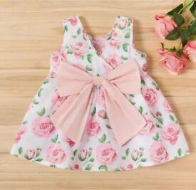 UK Newborn Baby Pretty Rose Summer Dress
