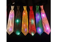 Wholesale-Resellers-24 X Flashing LIGHT UP LED PARTY NECK TIE BOW WEDDING
