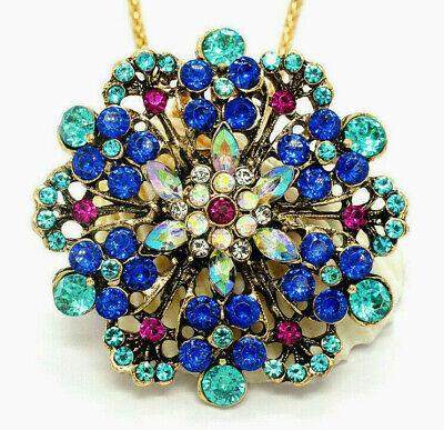 BEAUTIFUL Filigree FLOWER Mandala Rhinestone Retro Vintage Pendant BROOCH Blue