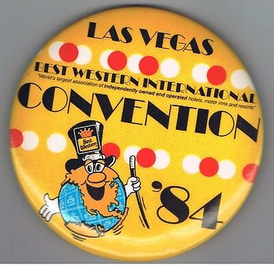 Vintage 1984 Best Western Hotel Advertising Pinback Button Las Vegas Convention