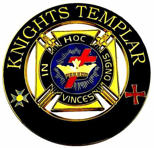 "Masonic 3""  Knights Templar IN HOC Signo Vinces Car Auto Emblem Black Gold DMCE5"