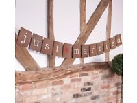 Just Married Bunting - Rustic - Brand New - 3 Meters