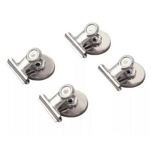 4 PC METAL Strong Magnetic Spring Clips Clamp Set Brand New In Package Magnets