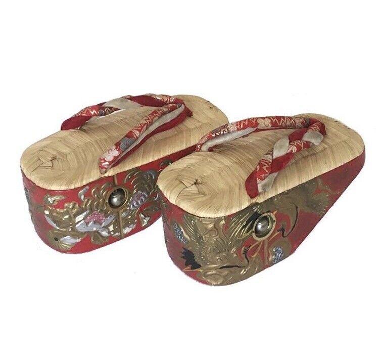 Antique 1920s / 30s Japanese Ceremonial Womens Shoes Pokkuri Geta