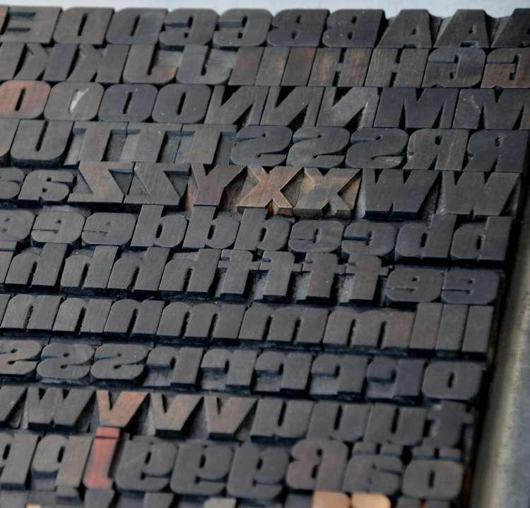 "Rare letterpress wood printing blocks 168pcs 0.71"" wooden characters woodtype"