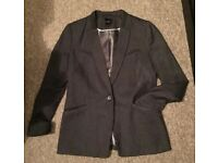 Next Grey Pinstripe Suit Jacket Size 14