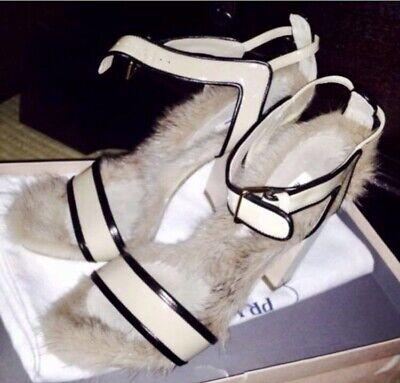 Authentic Miu Miu mink fur enamel strap Shoes from 2009 collection.(Ret. 3899$)