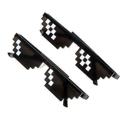 Thug Life Style Novelty Costume Mosaic 3/6 Pixel Sunglasses Eyeglasses UK Seller
