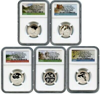 2019 S SILVER QUARTERS SET .999 NGC PF70 FIRST RELEASES PARK LABEL