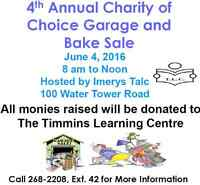 IMERYS Talc 4th Annual Charity of Choice Garage and Bake Sale
