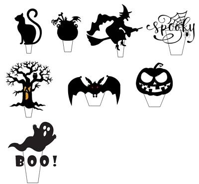 18 Halloween Scary Silhouette - Edible Cup Cake Toppers, Stand up Wafer  Pre Cut (Scary Silhouette)