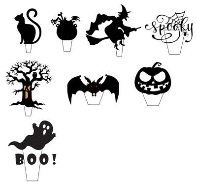 18 Halloween Scary Silhouette - Edible Cup Cake Toppers, Stand up Wafer Pre Cut