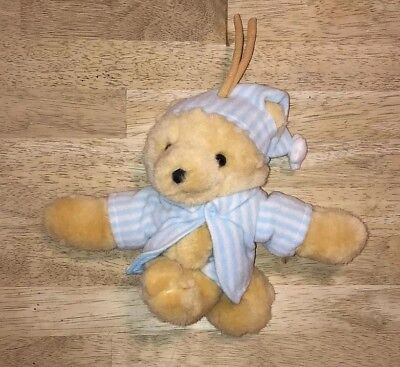 Vtg Dakin Teddy Bearytime Plush Crib Pull Baby Toy Musical Twinkle Blue White for sale  Shipping to India