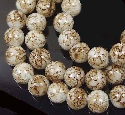 "6mm Baking Varnish Glass Round Beads - Coffee Brown 16"""