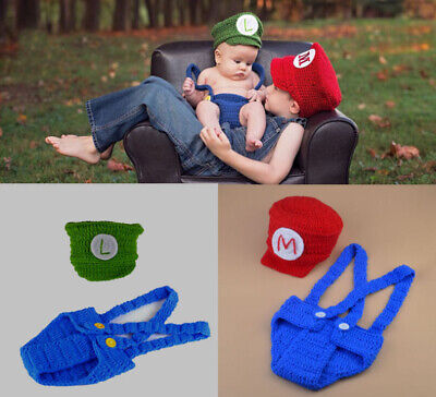 NEU Baby Knit Strick Fotoshooting Super Mario & Luigi Kostüm Mütze - Super Mario Kostüm Babys