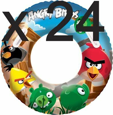 ANGRY BIRDS JOBLOT POOL TOYS INFLATABLE BEACH RING (BOX OF 24) BULK TRADE BUY