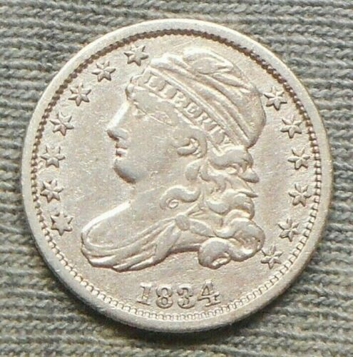 """Nice 1834 Capped Bust Dime - Large """"4"""" Variety"""